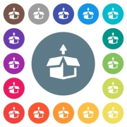 Unpack from box flat white icons on round color backgrounds. 17 background color variations are included. - Unpack from box flat white icons on round color backgrounds