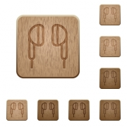 Earphone on rounded square carved wooden button styles - Earphone wooden buttons
