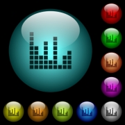 Sound bars icons in color illuminated spherical glass buttons on black background. Can be used to black or dark templates - Sound bars icons in color illuminated glass buttons