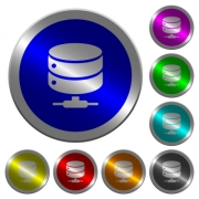 Network database icons on round luminous coin-like color steel buttons - Network database luminous coin-like round color buttons