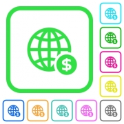 Online Dollar payment vivid colored flat icons in curved borders on white background - Online Dollar payment vivid colored flat icons