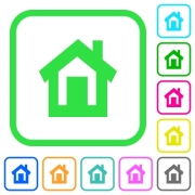 Home vivid colored flat icons in curved borders on white background - Home vivid colored flat icons