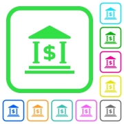 Dollar bank office vivid colored flat icons in curved borders on white background - Dollar bank office vivid colored flat icons