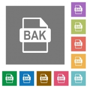 BAK file format flat icons on simple color square backgrounds