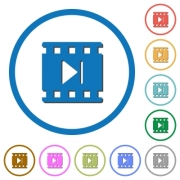 Next movie flat color vector icons with shadows in round outlines on white background - Next movie icons with shadows and outlines