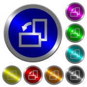 Rotate left icons on round luminous coin-like color steel buttons - Rotate left luminous coin-like round color buttons