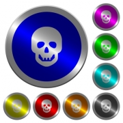 Human skull icons on round luminous coin-like color steel buttons