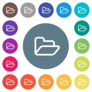 Open folder flat white icons on round color backgrounds. 17 background color variations are included. - Open folder flat white icons on round color backgrounds