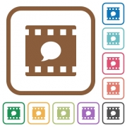 Comment movie simple icons in color rounded square frames on white background