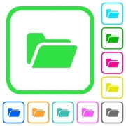 Folder open vivid colored flat icons in curved borders on white background - Folder open vivid colored flat icons