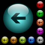 Left arrow icons in color illuminated spherical glass buttons on black background. Can be used to black or dark templates - Left arrow icons in color illuminated glass buttons