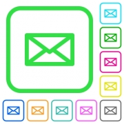 Message vivid colored flat icons in curved borders on white background - Message vivid colored flat icons
