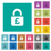 Locked Pounds multi colored flat icons on plain square backgrounds. Included white and darker icon variations for hover or active effects. - Locked Pounds square flat multi colored icons