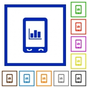 Mobile statistics flat color icons in square frames on white background - Mobile statistics flat framed icons - Large thumbnail