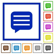 Message box with rows flat color icons in square frames on white background - Message box with rows flat framed icons - Large thumbnail
