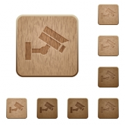 Security camera on rounded square carved wooden button styles - Security camera wooden buttons