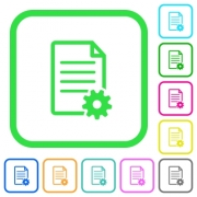Document setup vivid colored flat icons in curved borders on white background - Document setup vivid colored flat icons