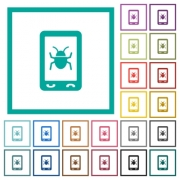 Malicious mobile software flat color icons with quadrant frames on white background