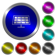 Solar panel icons on round luminous coin-like color steel buttons - Solar panel luminous coin-like round color buttons