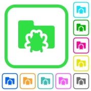 Bug folder vivid colored flat icons in curved borders on white background - Bug folder vivid colored flat icons