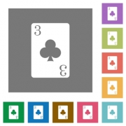 Three of clubs card flat icons on simple color square backgrounds - Three of clubs card square flat icons