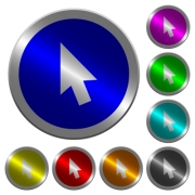 Mouse cursor icons on round luminous coin-like color steel buttons - Mouse cursor luminous coin-like round color buttons
