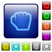 Grab cursor icons in rounded square color glossy button set - Grab cursor color square buttons