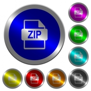 ZIP file format icons on round luminous coin-like color steel buttons - ZIP file format luminous coin-like round color buttons