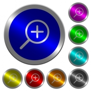 Zoom in icons on round luminous coin-like color steel buttons - Zoom in luminous coin-like round color buttons