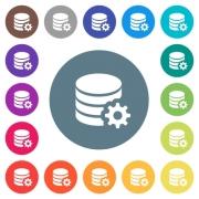 Database configuration flat white icons on round color backgrounds. 17 background color variations are included. - Database configuration flat white icons on round color backgrounds