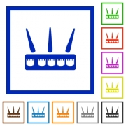 Wireless router flat color icons in square frames on white background - Wireless router flat framed icons