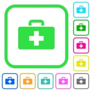First aid kit vivid colored flat icons in curved borders on white background - First aid kit vivid colored flat icons