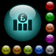 Pound financial graph icons in color illuminated spherical glass buttons on black background. Can be used to black or dark templates - Pound financial graph icons in color illuminated glass buttons