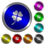 Four leaf clover icons on round luminous coin-like color steel buttons - Four leaf clover luminous coin-like round color buttons