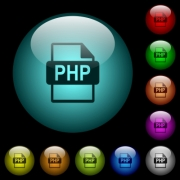 PHP file format icons in color illuminated spherical glass buttons on black background. Can be used to black or dark templates