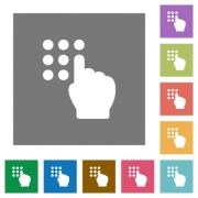 Typing security code flat icons on simple color square backgrounds - Typing security code square flat icons