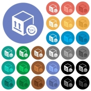 One day package delivery multi colored flat icons on round backgrounds. Included white, light and dark icon variations for hover and active status effects, and bonus shades on black backgounds. - One day package delivery round flat multi colored icons