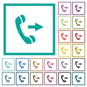 Outgoing phone call flat color icons with quadrant frames on white background - Outgoing phone call flat color icons with quadrant frames