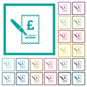 Signing Pound cheque flat color icons with quadrant frames on white background - Signing Pound cheque flat color icons with quadrant frames