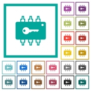 Hardware security flat color icons with quadrant frames on white background - Hardware security flat color icons with quadrant frames