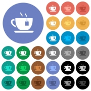 Cup of tea with teabag multi colored flat icons on round backgrounds. Included white, light and dark icon variations for hover and active status effects, and bonus shades on black backgounds. - Cup of tea with teabag round flat multi colored icons