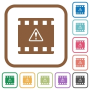 Movie warning simple icons in color rounded square frames on white background - Movie warning simple icons
