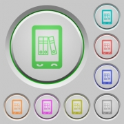 Mobile office color icons on sunk push buttons - Mobile office push buttons