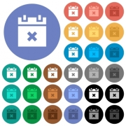Cancel schedule multi colored flat icons on round backgrounds. Included white, light and dark icon variations for hover and active status effects, and bonus shades on black backgounds. - Cancel schedule round flat multi colored icons