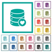 Favorite database flat color icons with quadrant frames on white background - Favorite database flat color icons with quadrant frames