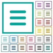 Menu flat color icons with quadrant frames on white background - Menu flat color icons with quadrant frames