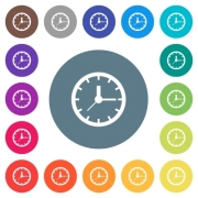 Analog clock flat white icons on round color backgrounds. 17 background color variations are included. - Analog clock flat white icons on round color backgrounds