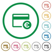 Euro credit card flat color icons in round outlines on white background - Euro credit card flat icons with outlines