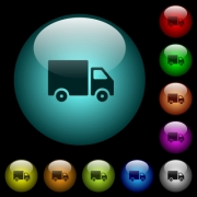 Delivery truck icons in color illuminated spherical glass buttons on black background. Can be used to black or dark templates - Delivery truck icons in color illuminated glass buttons