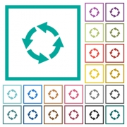 Rotate left flat color icons with quadrant frames on white background - Rotate left flat color icons with quadrant frames